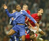 Didier Drogba at the Champions League Final held at Luzhniki Stadium Moscow 21 May 2008 and conteste
