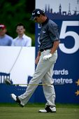 KENT ENGLAND JULY 3 England's David Howell kicks a golf club whilst competing at the PGA European To