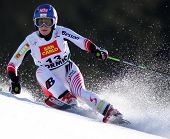 BORMIO ITALY MARCH 15 Kathrin Zettel Austria skiing at the Audi FIS World cup finals in Bormio Italy