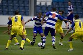 LONDON, UK AUGUST 2,Dexter Blackstock fights his way through the defence at the pre-season friendly