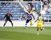 LONDON, UK AUGUST 2,Erjon Bogdani attempts to score with a header at the pre-season friendly footbal