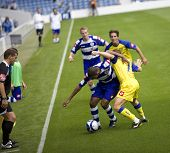 LONDON, UK AUGUST 2, Hall and Marcolini tussle for the ball at the pre-season friendly football matc