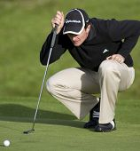 GLENEAGLES SCOTLAND AUGUST 28, England's Justin Rose lines up a putt whilst competing in the Johnnie Walker Classic PGA European Tour golf tournament at Gleneagles Perthshire Scotland