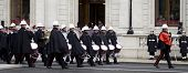 WHITEHALL, LONDON - NOV 8: The band of The Royal Marines march to position during the Royal British
