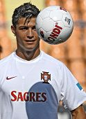 YEREVAN - AUGUST 21: Cristiano Ronaldo, during the training session at Republican Stadium in Armenia