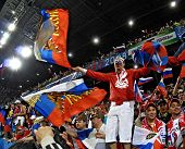 SALZBURG - JUNE 14: Russian National Team's fans during the match Greece-Russia during the Euro2008