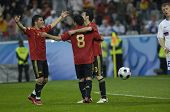 INNSBRUCK - JUNE 10: Cesc Fabregas, Villa and Xavi of Spain Football National Team during the match