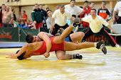 KAPOSVAR, HUNGARY - APRIL 4: Two competitors wrestle in the Hungarian Greco-Roman Wrestling National