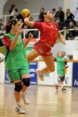 NAGYATAD, HUNGARY - MARCH 8: Orsolya Toth ready to score at Women's 17 European Handball Championshi