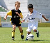 KAPOSVAR, HUNGARY - JULY 24: Unidentified players in action at the V. Youth Football Festival Under