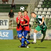 KAPOSVAR, HUNGARY - AUGUST 15: Goia (L) and Lakatos (C), and Gruz in action at Hungarian National Ch