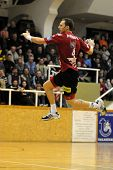 NAGYATAD, HUNGARY - FEBRUARY 5: Gergo Ivancsik (with the ball) in action at Hungarian Cup Handball m