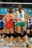 KAPOSVAR, HUNGARY - DECEMBER 17: Miskolc players celebrate at the Hungarian Extra League woman volle