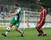 KAPOSVAR, HUNGARY - SEPTEMBER 25: Zahorecz (L) and Laczko (R) at a Hungarian National Championship soccer game Kaposvar vs Debrecen September 25, 2009 in Kaposvar, Hungary.