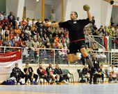 CSURGO, HUNGARY - OCTOBER 21: Krisztian Fodor in action at Hungarian National Handball Championship