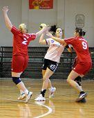 KAPOSVAR, HUNGARY - NOVEMBER 29: Karolina Pinter (25) in action at Hungarian Handball National Championship II. match (Kaposvar vs. Siofok) November29, 2009 in Kaposvar, Hungary.