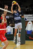 KAPOSVAR, HUNGARY - JANUARY 31: Robert Koch receives the ball at a Middle European League volleyball