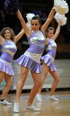 KAPOSVAR, HUNGARY - FEBRUARY 10: Cheerleaders perform at Hungarian National Cup basketball game betw