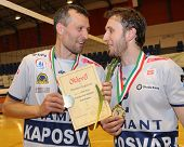 KECSKEMET, HUNGARY - APRIL 27: Kantor (L) and Koch (R) celebrate the win at a Hungarian National Cha
