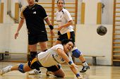 KAPOSVAR, HUNGARY - MAY 9: Beatrix Kantas (C) in action at Hungarian Handball National Championship