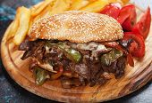 Philly cheese steak sandwich with tomato and french fries poster