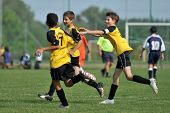 KAPOSVAR, HUNGARY - JULY 19: Novi Grad players celebrate a goal at the VI. Youth Football Festival m