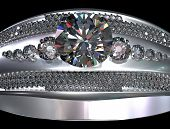 White gold engagement ring with diamond gem. Luxury jewellery bijouterie from silver or platinum wit poster