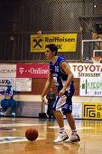 SZEKESFEHERVAR, HUNGARY - FEBRUARY 10: Kornel Kiss in action at a Hugarian Champonship basketball ga
