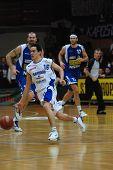 KAPOSVAR, HUNGARY - FEBRUARY 7: Kornel Kiss (16) in action at a Hugarian Cup basketball game Kaposva