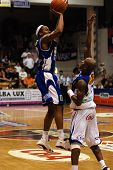 SZEKESFEHERVAR, HUNGARY - FEBRUARY 10: Larry Welton (L) in action at a Hugarian Champonship basketba