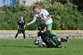 KAPOSVAR, HUNGARY - SEPTEMBER 5: Gergely Balogh (42) in action at a Hungarian National Championship III. soccer game Kaposvar II. vs. Nagyatad September 5, 2010 in Kaposvar, Hungary.