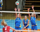 KAPOSVAR, HUNGARY - OCTOBER 3: Zsanett Pinter (2nd from L) in action at the Hungarian NB I. League woman volleyball game Kaposvar vs Szolnok, October 3, 2010 in Kaposvar, Hungary.