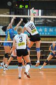 KAPOSVAR, HUNGARY - OCTOBER 10: Veszprem player strikes the ball at the Hungarian NB I. League woman