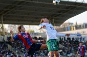 KAPOSVAR, HUNGARY - NOVEMBER 6: Pal Lazar (L) in action at a Hungarian National Championship soccer