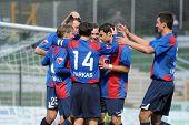 KAPOSVAR, HUNGARY - NOVEMBER 6: Videoton players celebrate a goal at a Hungarian National Championsh