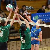 KAPOSVAR, HUNGARY - NOVEMBER 14: Rebeka Rak (R) in action at the Hungarian NB I. League woman volley