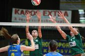 KAPOSVAR, HUNGARY - NOVEMBER 14: Rebeka Rak (L) in action at the Hungarian NB I. League woman volley