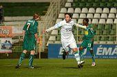 KAPOSVAR, HUNGARY - NOVEMBER 19: Lorant Olah (C) celebrates his goal at a Hungarian National Champio