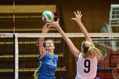 KAPOSVAR, HUNGARY - DECEMBER 12: Rebeka Rak (L) in action at the Hungarian NB I. League woman volley