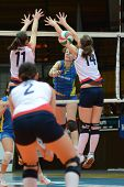 KAPOSVAR, HUNGARY - DECEMBER 12: Rebekra Rak (9) strikes the ball at the Hungarian NB I. League woma