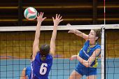 KAPOSVAR, HUNGARY - DECEMBER 19: Rebeka Rak (R) in action at the Hungarian NB I. League woman volley