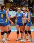KAPOSVAR, HUNGARY - DECEMBER 19: Kaposvar players celebrate at the Hungarian NB I. League woman voll