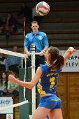 KAPOSVAR, HUNGARY - DECEMBER 19: Zsofia Harmath (3) strikes the ball at the Hungarian NB I. League w