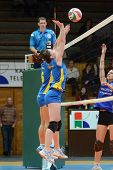 KAPOSVAR, HUNGARY - DECEMBER 19: Unidentified players in action at the Hungarian NB I. League woman