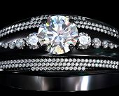 Black gold engagement ring with diamond gem. Luxury jewellery bijouterie with rhodium or ruthenium c poster