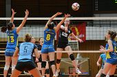 KAPOSVAR, HUNGARY - JANUARY 23: Barbara Balajcza (8) blocks the ball at the Hungarian NB I. League w