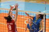 KAPOSVAR, HUNGARY - FEBRUARY 4: Szandra Szombathelyi (R) strikes the ball at the Hungarian NB I. Lea