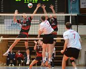 KAPOSVAR, HUNGARY - FEBRUARY 24: Krisztian Csoma (L) blocks the ball at a Hungarian National Champio