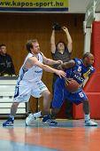 KAPOSVAR, HUNGARY - FEBRUARY 26: Joshua Wilson (L) in action at a Hungarian National Championship ba