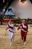 KAPOSVAR, HUNGARY - AUGUST 12: Denmark team in action at the Vaulting World Championship Final on Au